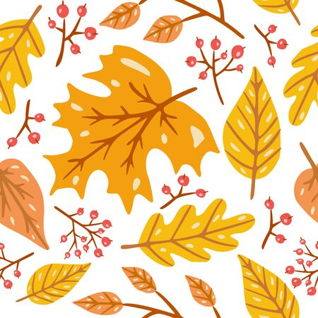 Autumn seamless pattern with  leaves, branches, berries. 일러스트