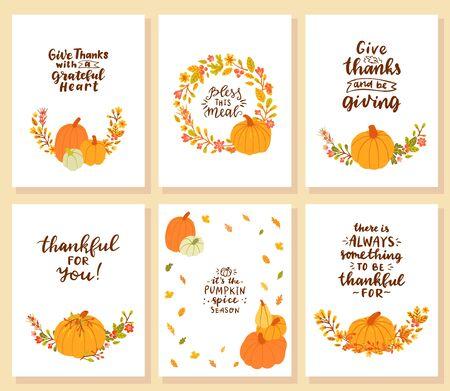 Reeks dankzeggingskaarten. Dank met dankbaar hart. zegen deze maaltijd. Dankbaar voor jou. Het is het seizoen van de pompoenkruiden. Er is altijd wel iets om dankbaar voor te zijn. Vector Illustratie