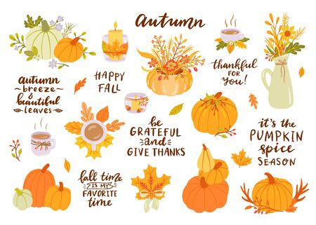 Hand drawn autumn clip art set with lettering. Orange, green pumpkins and autumn leaves, cup of coffee, candle, jug, flowers, branches, berries. Its the pumpkin spice season, Be grateful and thanks, Fall time is my favorite time, Happy fall. Çizim