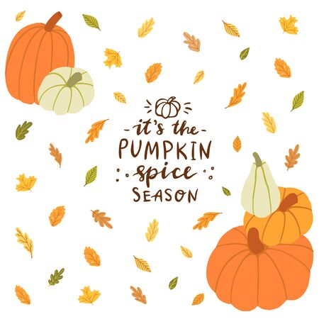 It's the pumpkin spice season. Hand drawn card with hand lettering,  pumpkins, leaves.
