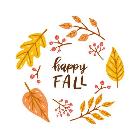 Happy fall. Round frame with autumn leaves. Hand drawn illustration with hand lettering. Иллюстрация