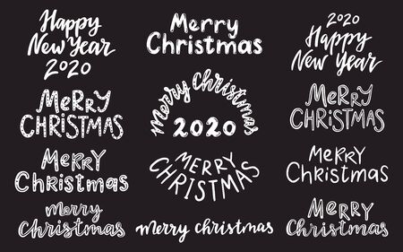 Lettering set 2020. Merry christmas. Happy new year. 일러스트