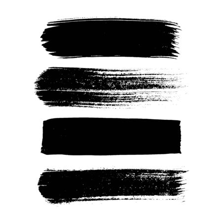 Set of black hand drawn abstract ink  brush strokes on white 일러스트