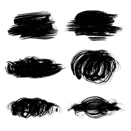 Set of black hand drawn abstract ink vector brush strokes on white