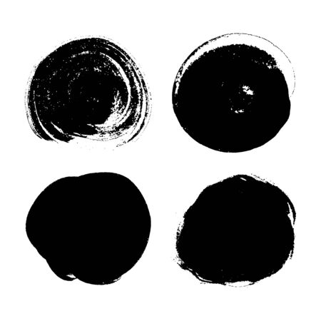 Vector grunge ink round stains isolated on white