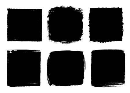 Set of vector grunge black textures on white 일러스트