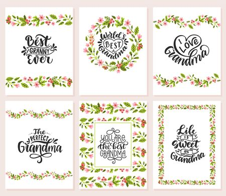 Best granny ever. World's best grandma. Life is sweet at grandma. I love grandma. Vector set of calligraphic lettering for greeting cards, posters, prints, t-shirts. 일러스트