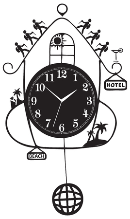 Travel symbol - clock with symbols of journeys.