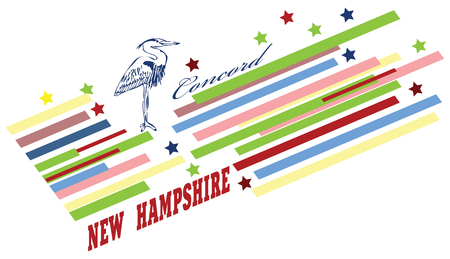 Abstract symbols of the State of New Hampshire in the United States. Vector illustration.