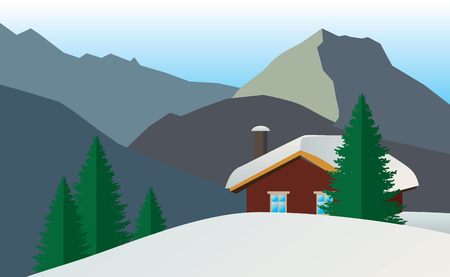 snow capped: Application House in the mountains on a snow-capped summit. Illustration