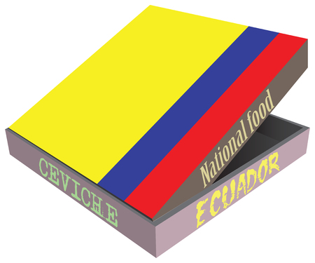 smolder: Ecuadorian national dish Seviche. Box for food delivery. Illustration