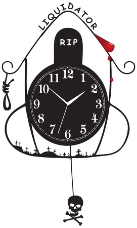 reloj de pendulo: Old wall clock Liquidator. Abstraction on the theme of death and liquidation.