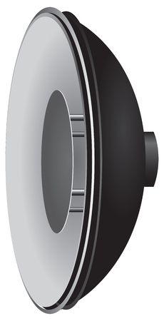 plate camera: Reflector dish with internal reflector for portrait photography. Illustration