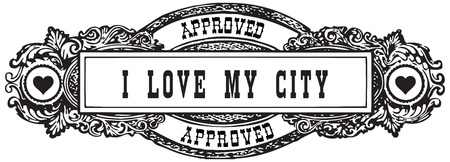 permission granted: I love my city - A vintage marker in the form of a stamp is approved.