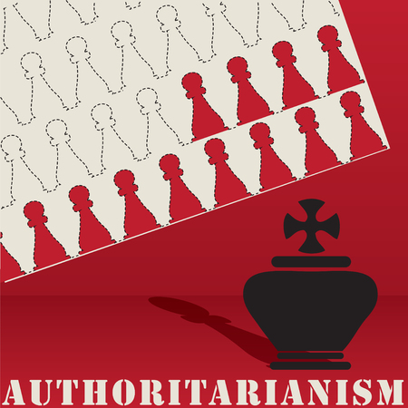 Post authoritarianism, abstract chess figures, authoritarian leadership in society. Illustration