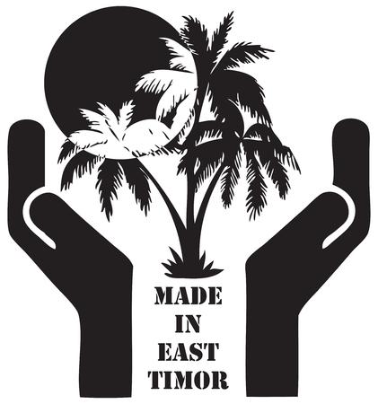 sun: Symbol Made in East Timor - Tourist business. Vector illustration