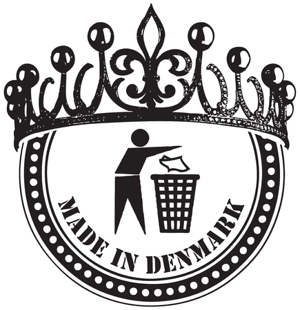 cleanliness: Stamp Imprint Made in Denmark with a symbol of cleanliness and cleaning Illustration