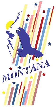 Banner Montana for the presentation of the US state. Vector illustration.