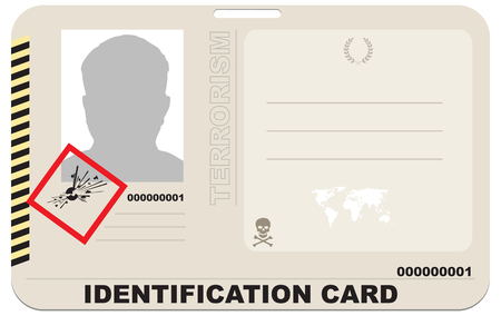 Abstract Identification card of a terrorist with symbols of secrecy