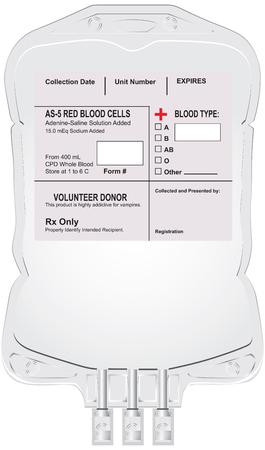 ラベルと献血の空のコンテナーです。