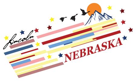Banner Nebraska for the presentation of the US state. Vector illustration.