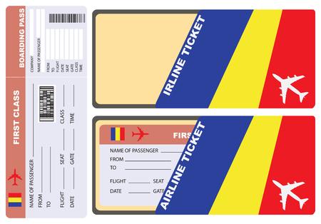 Busta di servizio per il biglietto aereo in Ciad. Vettore. Vettoriali
