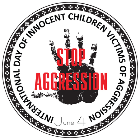 symbol victim: International Day of Innocent Children Victims of Aggression, stamp Stop Aggression.
