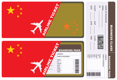 A ticket for a business class flight by Chinese airlines in a service envelope.
