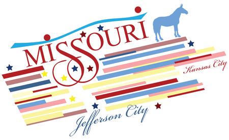 jefferson: Creative banner for Missouri, the US state. Vector illustration.