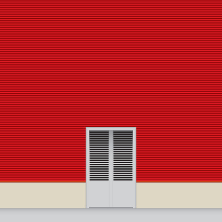 Red wall hangar with a small door. Illustration