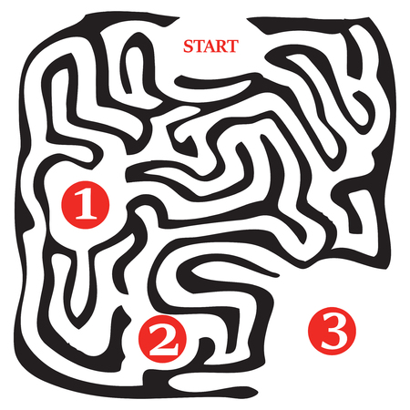 Three stages of the passage of the labyrinth, the stages are marked with numbers, the beginning is the start Иллюстрация