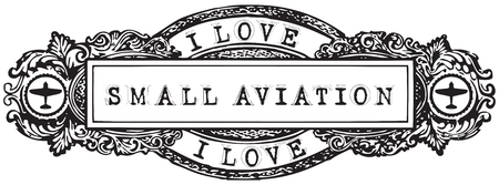 Vintage banner I Love Small Aviation. Vector in the old style. Illustration