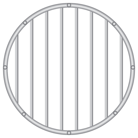 prison facility: Industrial round grille with vertical rods. Vector illustration.