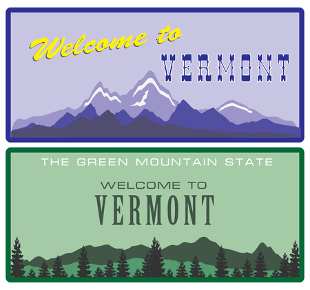 Two versions of the road sign Welcome to Vermont