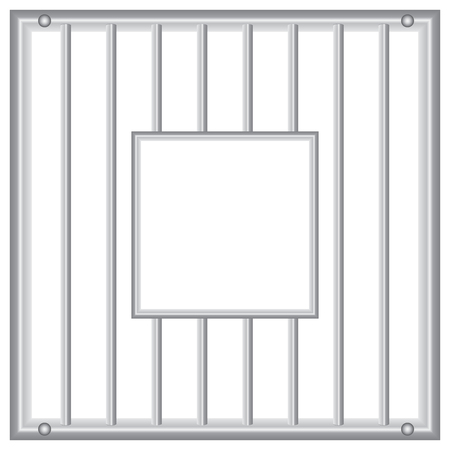 jailhouse: Industrial grille with vertical rods and inner window.