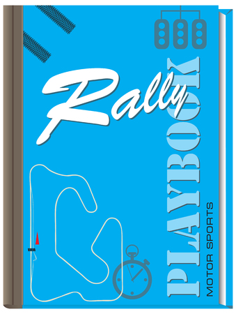 tire cover: Playbook for Moto Sports - Rally, Cover book for athletes racing cars Illustration