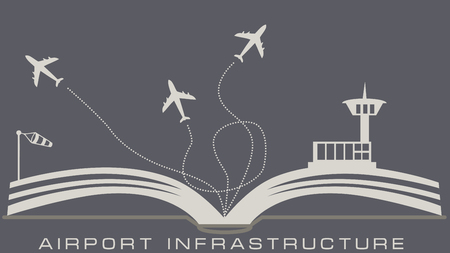 The airport infrastructure from an open book. Plane takes off.