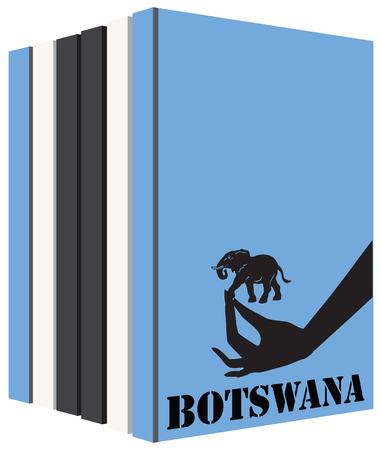 bibliography: Books about the country of Botswana. Symbol flag.