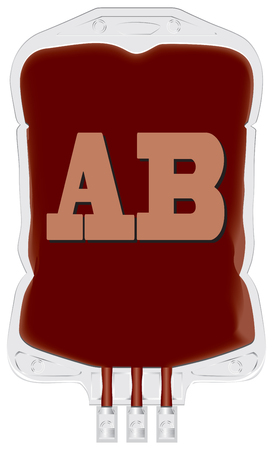 Container with donor blood of group AB. Vector.