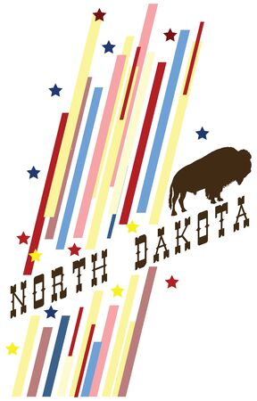 Creative banner with the symbol of the State of North Dakota.