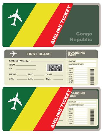서비스 봉투가있는 콩고 공화국 행 비행 여행. 일러스트