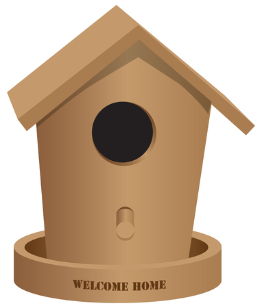 Wooden bird house with text Welcome home