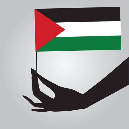 Flag of Palestine in a female hand. Vector illustration.