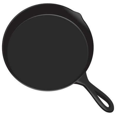 Pan perfect voor het koken van biefstukken, groenten en meer. Het kan worden gebruikt in de oven of boven een fornuis of kampvuur Vector Illustratie