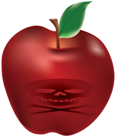 A poisonous red apple with a symbol of the skull and crossed bones.