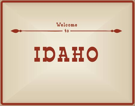 Vintage card Welcome to Idaho. Old classic style.