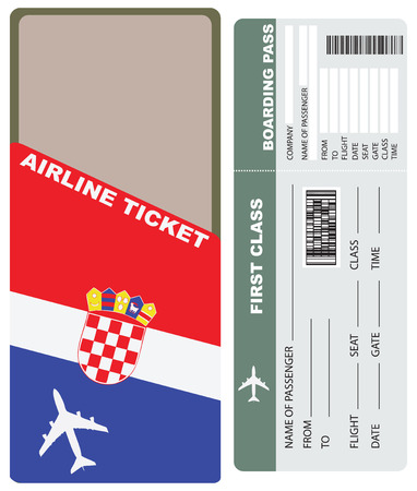 Plane tickets to first class, the country of Croatia. Illustration
