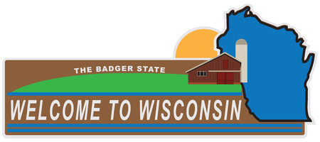 Banner welcome to Wisconsin with elements and state map. 向量圖像