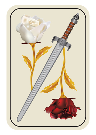 roze: Card with a red and white rose - a war of red and white roses