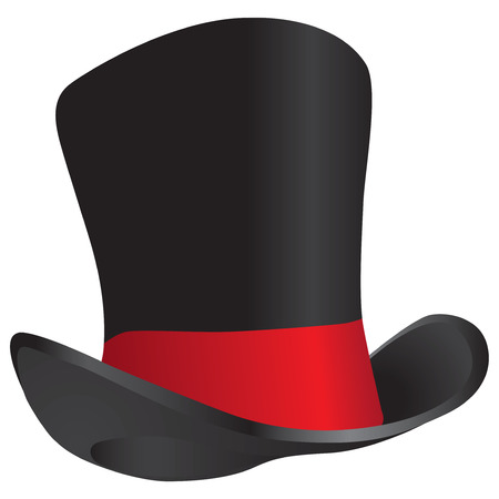 Vintage front mans hat - hat is a top hat. Vector illustration.